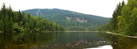 Lake Arber (Großer Arbersee). A panoramic image of Lake Arber (Großer Arbersee), one of eight glacial lakes located in Bayerischer Wald, Bavaria, Germany Royalty Free Stock Photo
