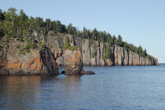 Lake Arch & Shovel Point. Arch on Lake Superior with Shovel Point in the background - Tettegouche State Park stock image