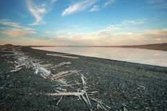 Lake in the arctic. The arctic lake just over the sea coast line Royalty Free Stock Images