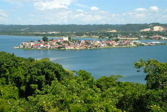Lake around Flores Guatemala Central America. Lake around tourism town of Flores Guatemala Central America. Photo from tree tower near where a dig for ruins Stock Photos