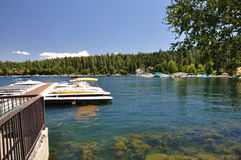 Lake Arrowhead boat dock Stock Photo