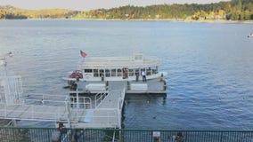 Arrowhead Queen Boat of Lake Arrowhead, California Time Lapse. Lake Arrowhead, CA / USA - Oct. 20, 2018: In a time-lapse view, the Arrowhead Queen scenic tour stock video footage