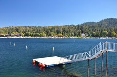 Lake Arrowhead, Ca. View of a water ski platform at Lake Arrowhead in the San Bernardino Mountains of Southern California Royalty Free Stock Image