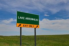 US Highway Exit Sign for Lake Arrowhead. Lake Arrowhead `EXIT ONLY` US Highway / Interstate / Motorway Sign royalty free stock photography