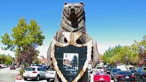 Lake Arrowhead Shopping Center Entrance. Mountain Bear statue to Lake Arrowhead shopping center in Southern California Mountains famous tourist resort stock video footage