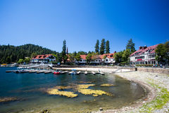Lake Arrowhead Shoreline. Lake Arrowhead with boats moored on a hot summer's day near Los Angeles, California, USA Royalty Free Stock Image