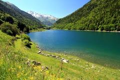 Lake of Artouste in the French Pyrenees. stock photo