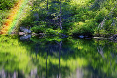 Lake Asya Marmarosh. Mountain Lake in the wild taiga during sunset. Old wood on a background of magic and fairy tale, according to legend, the water, water and Royalty Free Stock Image