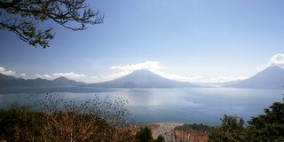 Lake Atitlan. In Guatemala surrounded by three volcanos royalty free stock photo