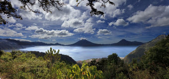 Lake Atitlan in Guatemala. Famous crater lake surrounded by active volcanos, Guatemala Stock Photography