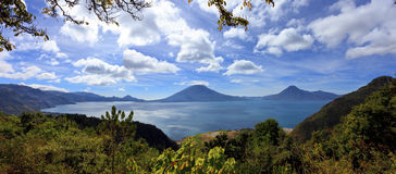 Lake Atitlan in Guatemala. Famous crater lake surrounded by active volcanos, Guatemala Royalty Free Stock Images