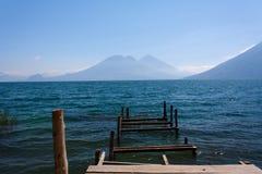Lake Atitlan ruined wooden pathway San Marcos La Laguna Guatemala. Lake Atitlan ruined wooden pathway San Marcos La Laguna in Guatemala Royalty Free Stock Photography