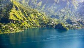 Lake Atitlan Shoreline. Lake Atitlan mountainous shoreline with a view of San Marcos La Laguna Royalty Free Stock Images
