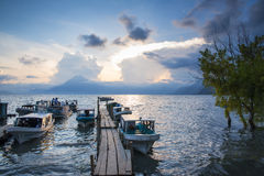 Lake Atitlan at sunset Royalty Free Stock Image