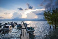 Lake Atitlan at sunset royalty free stock image