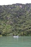 Lake Atitlan transportation. Boat navigates around the Atitlan Lake, in Guatemala royalty free stock images
