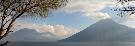 Lake Atitlan with volcano San Pedro Royalty Free Stock Photos