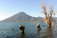 Lake Atitlan with vulcano San Pedro Royalty Free Stock Image