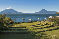 Lake Atitlan With Volcanoes In Background Royalty Free Stock Image