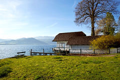 Lake Attersee in the morning in springtime Royalty Free Stock Image
