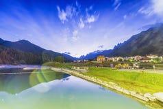 Lake of Auronzo at night, Italian Dolomites Stock Photography