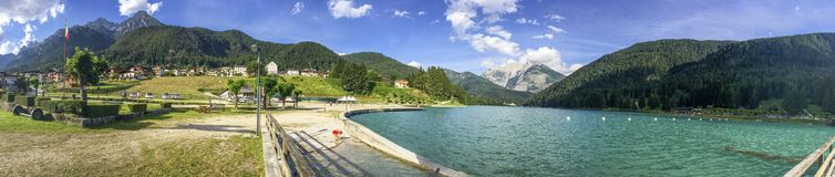 Lake of Auronzo, panoramic view in summer Royalty Free Stock Image
