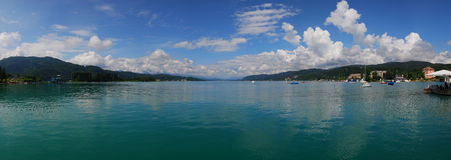 Lake in Austria. Beautiful lake Worthersee in Austria Stock Photography