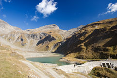Lake in Austrian Alps Mountains. And blue sky Royalty Free Stock Photo