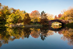 A lake in autumn in central park Stock Photography