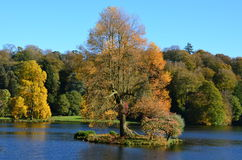 Lake and Autumn Colours, Stourhead Gardens, Wilts Royalty Free Stock Photo