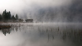 Lake with autumn-fog Stock Photo