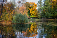Lake and Autumn Foliage in Lazienki Park Stock Images