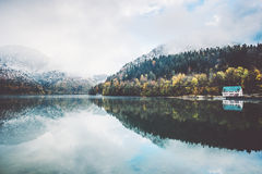 Lake and autumn Forest Landscape Stock Images