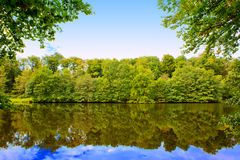 Lake in the autumn forest with reflection. Royalty Free Stock Photos