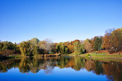 Lake in Autumn Moczydlo Park in Warsaw Royalty Free Stock Photos