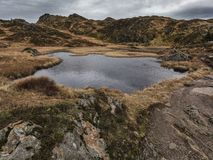 Lake in the autumn mountains royalty free stock photo