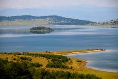 Lake autumn panorama Royalty Free Stock Photo