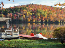 The lake in autumn. Photo taken in autumn 2011 on the edge of a small lake in Quebec, Canada royalty free stock photos