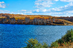 The lake and autumn steppe Royalty Free Stock Image