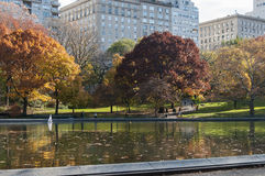 Lake and autumn trees on Central Park, New York. Photo shot from inside Central Park in New York Stock Images