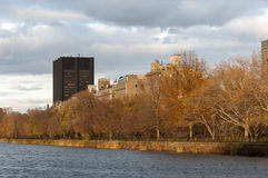 Lake and autumn trees on Central Park, New York. Photo shot from inside Central Park in New York Stock Photography
