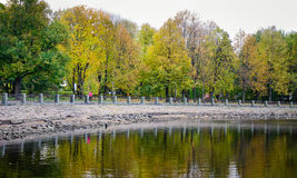 Lake at autumn in Vyborg, Russia Stock Image