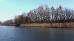 A lake in the autumn. Which is frozen partially stock video