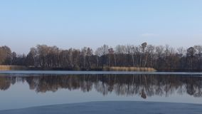 A lake in the autumn. Which is frozen partially stock video footage