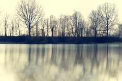 Wonderful lake in autumn with reflecting water surface. Photo taken in Munich at a lake on a sunny day stock photo