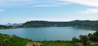Lake of Averno, crater lake in Napoli, Campania, southern Italy. Royalty Free Stock Images