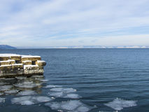 Lake Baikal. Old pier on the lake Baikal royalty free stock image