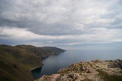 Lake Baikal in Aya bay. Lake Baikal view in Aya bay in Tangerian steppes Stock Photos