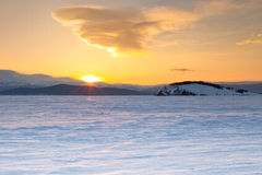 Lake Baikal. Bald Island. Winter. Dawning Royalty Free Stock Photography