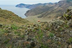 Lake Baikal, beautiful mountains. Lake Baikal, beautiful blue water and sky, stones and Flora on the mountain Stock Photo